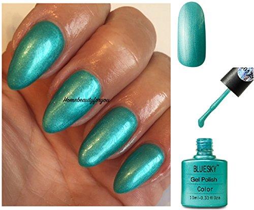 BLUESKY 80529Hotski Tchotchke türkis grün-schimmernden Glanz Nagellack-Gel UV-LED-Soak Off 10ml plus 2LuvliNail Shine Tücher