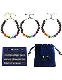 Bracelet Chakra Believe London avec Sac à Bijoux et Carte des Significations | Bracelet Ajustable pour S'adapter à tous les Poignets | Pierres Naturelles des 7 Chakras | Guérisseur Yoga Reiki