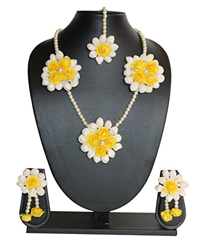 The Peacock Studio Yellow Rose Mogra Flower Jewellery Set (haldi mehndi sangeet...