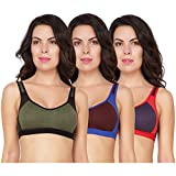 Yes Beauty Women's Cotton Sports Bra - 3 Pieces (Multicolour, 32)