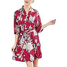 OPAKY Mujeres Simulación Seda Damas Pijamas Lencería Bata Albornoz Novia Bata Usar Inicio Kimono Mujer Batas