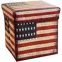 Preisvergleich für Folding Storage Seat Bench- Vintage Folding Storage Hocker Mehrzweck-Haushalt Kinderspielzeug Aufbewahrungsbox mit Deckel Sofa Hocker 30 cm × 30 cm × 30 cm Home Decor (Farbe : B)