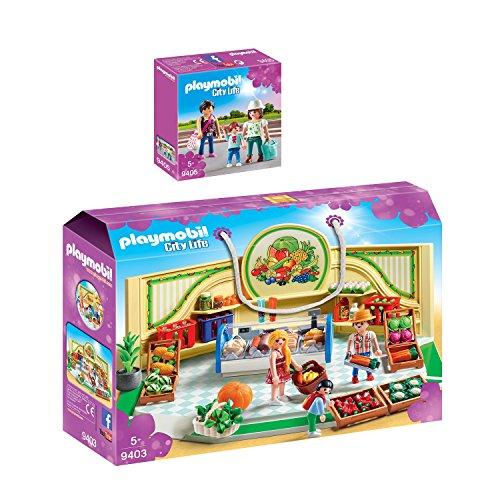 PLAYMOBIL® City Life 2er Set 9403 9405 Bioladen + Shopping Girls
