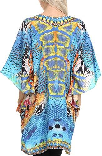 Plongeant Sakkas Journie court imprimé large manches à encolure en V à lacets Kaftan Tunique 17007-Turq / Jaune