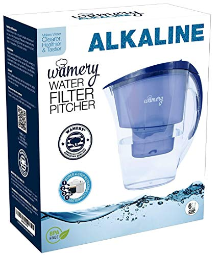 Wamery Small Alkaline Purifier Water Filtration System Pitcher BPA Free - 6  Cup - 1 5 Liter - 1 Free Standard Filter Included, Clear - Blue