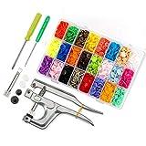 Queta 360pcs Bouton Pression 24 Coloris en T5 Résine + Kit de Pince Bonton Pression Métal pour T3 T5 T8 en Plastique + 2 Boîtes de Rangement Transparents