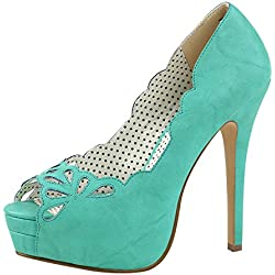 Plateau Pumps Pin Up Couture aquamarin BELLA-30 Türkis, EU 37