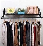 YMJ Wandgarderobe Kleiderständer Bekleidungsgeschäft Kleiderständer Retro Eisen Wandmontage Seitenmontage Hängeregale Regale Regale (Schwarz) Garderobe (Größe : 120cm)