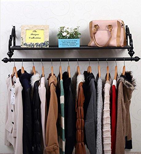 NYDZDM Kleiderständer Kleiderstange Kleiderbügel Europäische Kreative Schmiedeeisen Wand Montiert Kleidung Stangen Ablageboden, Hängende Schrank Schwarz (Color : 80cm)