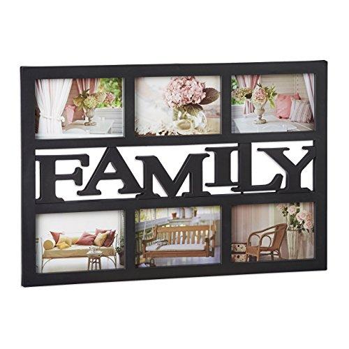 ... Relaxdays Bilderrahmen Family, Fotorahmen 6 Bilder, Fotocollage Selbst  Gestalten, Mehrere Fotos, HxB ...