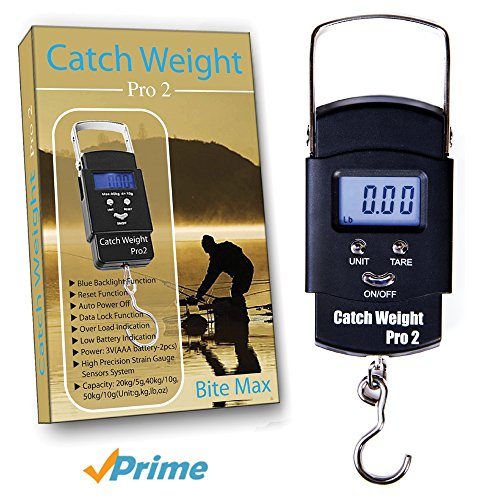 51AI72vZ2DL - BEST BUY #1 Catch Weight Pro 2, Digital Fishing Weighing Scales- The Latest In Fishing Equipment Digital Hand Held Fishing Scale! Compact In Design , This Easy To Use Scale Shows You The Weight In lbs Ounces & Kilograms On The LCD Backlit Screen Reviews and price compare uk