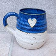 Large cuddle mug coffee tea cup with a heart in stoneware hand thrown ceramic pottery handmade wheelthrown rea