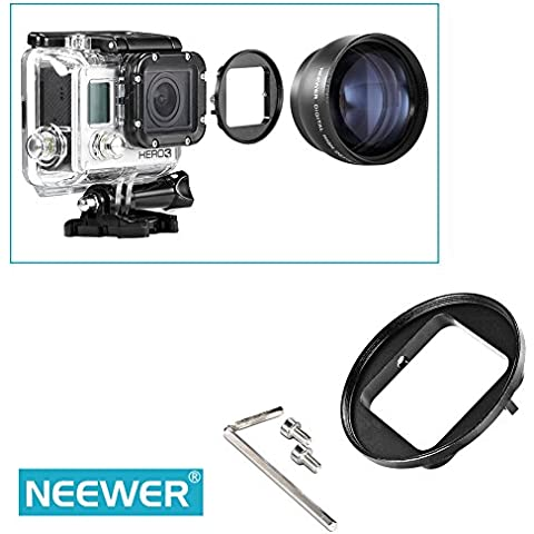 Neewer® 58mm Anello Adattatore in Alluminio Anodizzato Nero per Gopro HERO 3, Inclusi Cacciavite Esagonale e Viti di Montaggio
