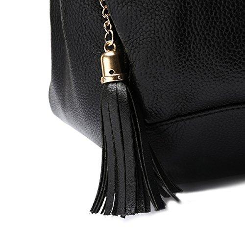 WU Zhi Estate Signora Borsa A Tracolla Big Bag Black