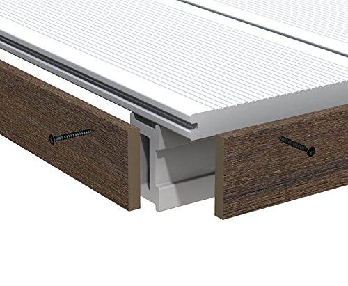 Abschlussleiste braun für WPC Terrassendielen Platinum 200cm, Vollprofil 1x6cm - Zubehör für WPC Dielen Boden WPC Terrassenböden Boden für Terasse, Kunststoffboden Kunststoffböden hochwertige Böden für Terrasse und Garten Terassendielen Terassenbelag
