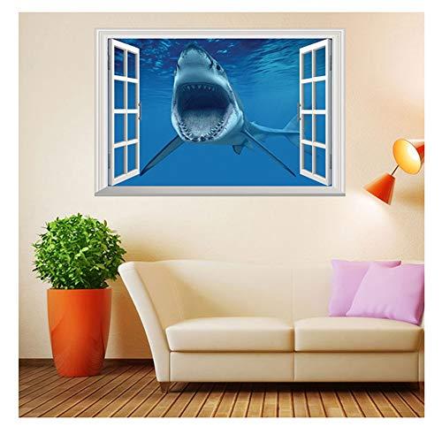 Dušial Underwater World Stickers Shark 3D Window View Wall Mural Poster Ocean Theme Wall Decor Decals