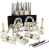 LUWANZ 22PCs lockpicking set, 7pcs Cerradura transparente + 15pcs conjunto de ganzúa, con cerraduras y llaves para principiantes y profesionales