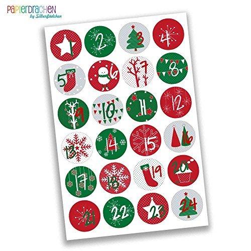Papierdrachen 24 Adventskalenderzahlen Aufkleber - klassisch rot grün Nr 15 - Sticker 4 cm - zum Basteln und Dekorieren