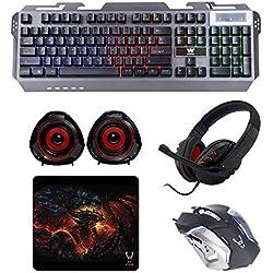 Woxter Stinger FX 80 Megakit Pro - Kit gaming (teclado retroiluminado de base metálica, ratón óptico hasta 3200 DPI, alfombrilla microfibra 25x21, auriculares con micrófono y altavoces 2.0, 15 W)