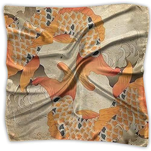 Pizeok Japanese Fancy Carp Koi Fish Women's Large Square Satin Headscarves Silk Like Neckerchief -