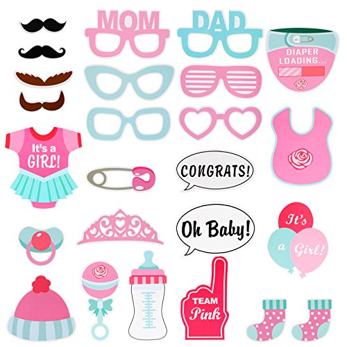 Kesote 25 Piezas Photocall para la Niña Accesorios de Fotos de Papel Selfie Accesorios Decoración para Niña Baby Shower Bebes Recien Nacidos Fiesta