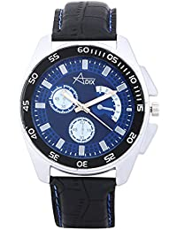 Adix Black Leather Analog Watch For Men