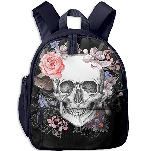 Beautiful Floral Sugar Skull Double Zipper Waterproof Children Schoolbag with Front Pockets for Youth Boy Girl