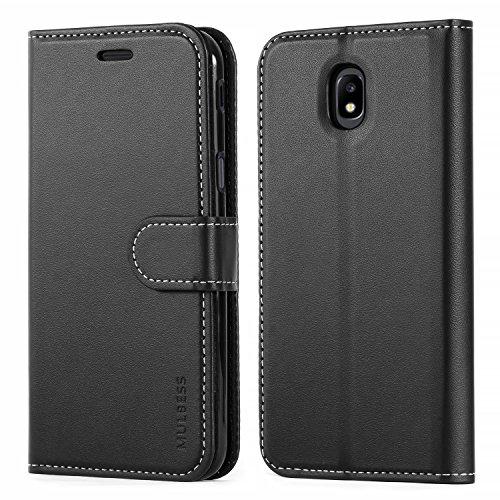 Mulbess Business Style Ledertasche im Ständer Book Case / Kartenfach für Samsung Galaxy J5 Duos 2017 Tasche Hülle Leder Etui,Schwarz