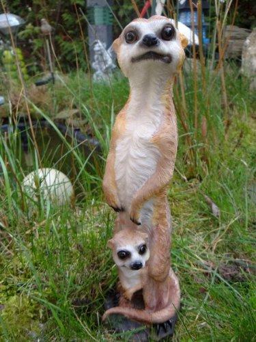 Erdmännchen Mama mit Kind 30 cm Figur Gartenfigur Garten