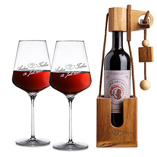 Casa Vivente Geschenkset zur Hochzeit – Rotweingläser und Flaschenpuzzle Dunkel mit Gravur – Motiv Herzen – Personalisiert mit [Namen] und [Datum] – Hochzeitsgeschenk – Geschenk für Paare