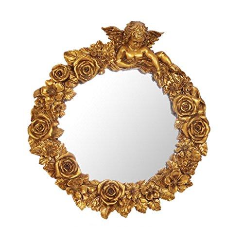 Salle de bains Européenne- Miroir Ange Résine miroir sculpté miroir décoratif mural américaine créative Accueil Accueil Bienvenue pendentif décoratif mural ( Couleur : or )