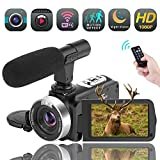 Videokamera WiFi Camcorder Full HD 1080P 30FPS 16X Digitalzoom Digitalkamera mit Mikrofon 3,00 Drehbarer Touchscreen Unterstützung Fernbedienung Zeitraffer Fotografie