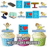 Fiesta PACK - 36 x gimnasia infantil de color azul de la mezcla de la oblea comestibles de primeros de la torta de pie figurines cumpleaños del niño