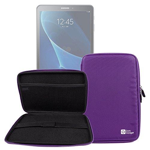 DURAGADGET Funda Rígida Morada para Tablet Samsung Galaxy Tab A 2016 SM-T580/T585 - con Bolsillo De Red En El Interior Y Cierre De Cremallera