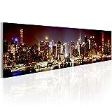 murando - Bilder New York Panorama 172x45 cm Vlies Leinwandbild 1 TLG Kunstdruck modern Wandbilder XXL Wanddekoration Design Wand Bild - NYC Stadt Nacht d-B-0172-b-a