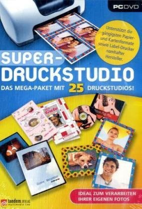 Super-Druckstudio - Das Mega-Paket mit 25 Druckstudios, DVD-ROM Ideal zum verarbeiten von Fotos. Für Windows ME/2000/XP/Vista. Unterstützt die gängigsten Papier- u. Kartenformate sowie Label-Drucker