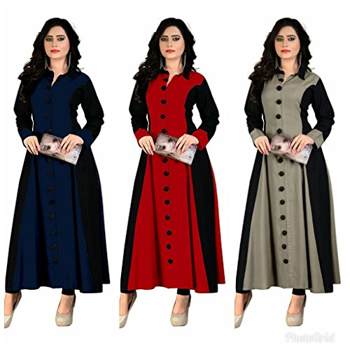 Pramukh Fashion Women\'s Crape kurtis (baby red and blue,grey off)_Free Size semi stich