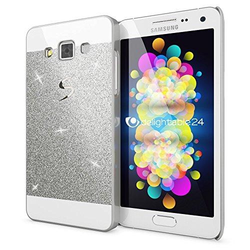 NALIA Handyhülle kompatibel mit Samsung Galaxy A5 2015, Glitzer Slim Hard-Case Hülle Back-Cover Schutzhülle, Handy-Tasche im Glitter Sparkle Design Dünnes Bling Strass Etui Smart-Phone Skin - Silber -