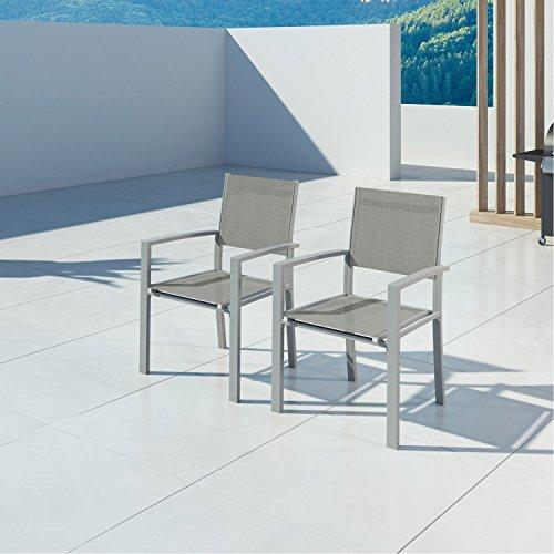 IMS GARDEN Hara-2 Fauteuils Aluminium argenté textilène Gris Clair Jardin, KN-2CH1G