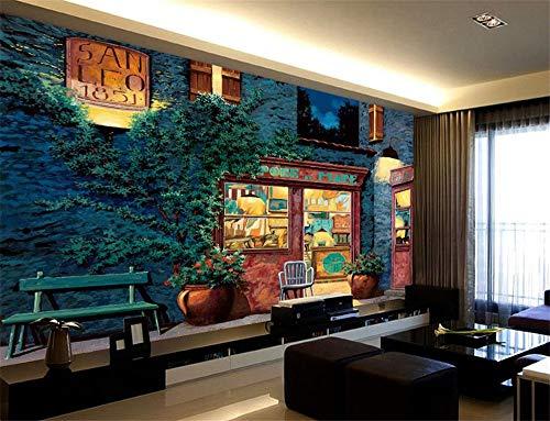 CHTTERY Foto 3D Tapete Europäische Architektur Blume Ölgemälde Tapeten für Wand 3D Schlafzimmer für Wohnzimmer Hintergrund, 250x175 cm (98.4 x 68.9 in)