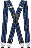 Decalen Hosenträger für Herren Breit 4 cm mit sehr Starken 4 Metall Clip Lang Einheitsgröße für Männer und Damen Einstellbar und Elastisch X Style (Blau Schwarz)