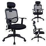 Duhome 0391 Bürostuhl / Chefsessel, Kopfstütze, ergonomisch, Netzbezug, Wippfunktion in Schwarz ++WORKOHOLIC++