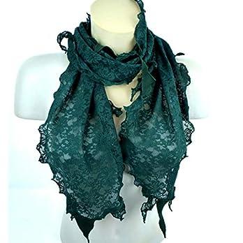 Schal Grün Spitze Spitzenschal Damen Halstuch Weihnachten Geschenk