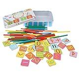 Fenteer 100x Zählstäbchen + 27x Magnetische Zahlenkarten + Zahlen Uhr, Pädagogisches Spielzeug für Kinder frühe Ausbildung
