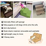 YUENA CARE 3-Step Pet Stairs Ramp Breathable Washable Cover Dog Cat Puppy Activity Ladder Supplies Grey 18