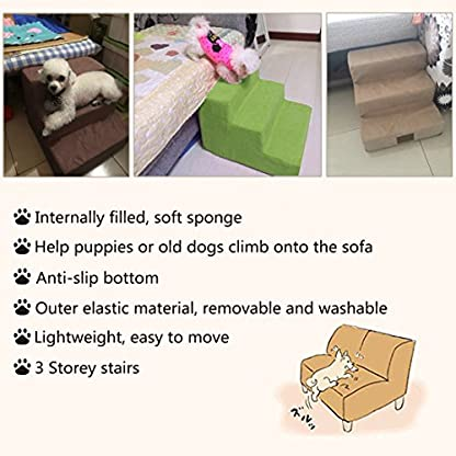 YUENA CARE 3-Step Pet Stairs Ramp Breathable Washable Cover Dog Cat Puppy Activity Ladder Supplies Grey 6