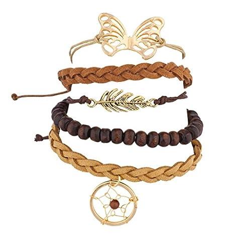 Lux Accessoires Attrape-rêves Feuille perle papillon tissé Bras de Candy BFF Ensemble bracelet