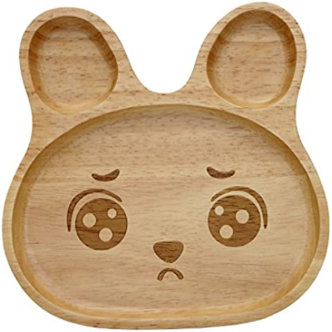 Geeklife Cute Baby Rubber Wood Plate,Creative Rubbit Pattern Kid Serving Dishes,Safe and Eco-friendly (Plaintive Face) by Geeklife