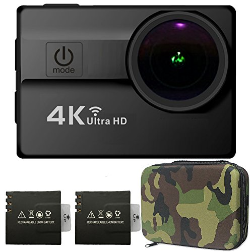 Cámara Deportiva Impermeable 16MP HD 4K Sony CMOS Sensor 2.0 Pulgadas LCD Objetivo Gran Angular de 173 Ángulos con Dos Baterías