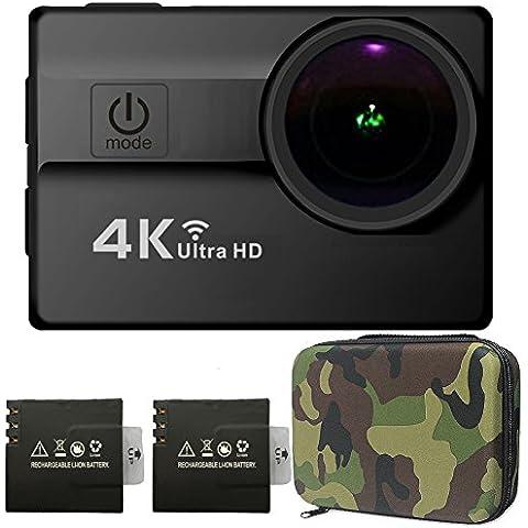 Cámara Deportiva Impermeable 16MP HD 4K Sony CMOS Sensor 2.0 Pulgadas LCD Objetivo Gran Angular de 173 Ángulos con Dos